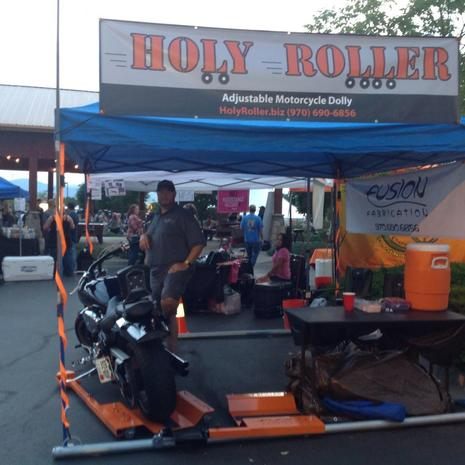 2015 Thunder in the Rockies, Holy Roller booth, Holy Roller low-profile motorcycle dolly, manufactured in the USA by FusionFab.biz, Fusion Fabrication, Loveland Colorado